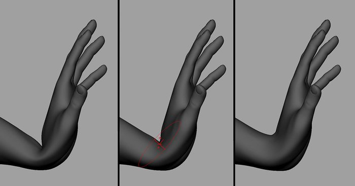 Using the Sculpt Geometry Tool to work on the wrist