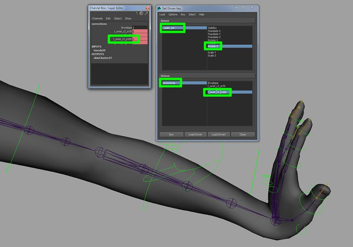 Using Set Driven Keys to drive the correctives shapes for the wrist