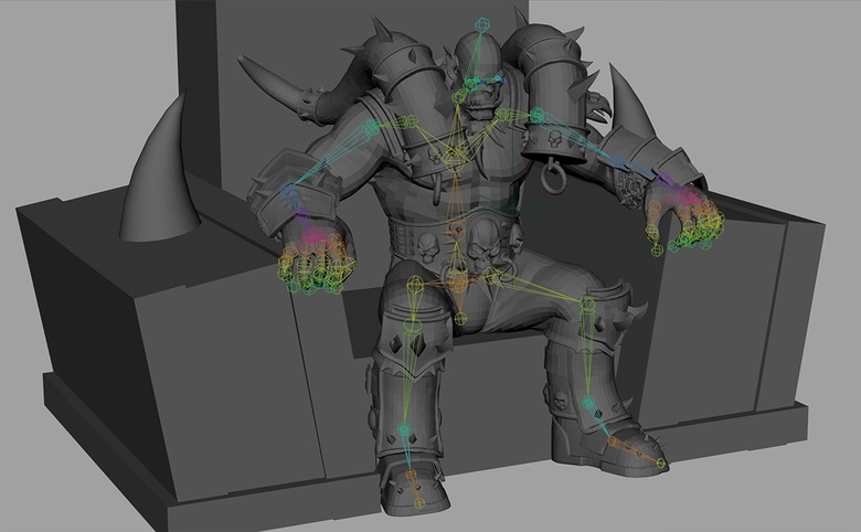 Posing the character by repositioning the rig