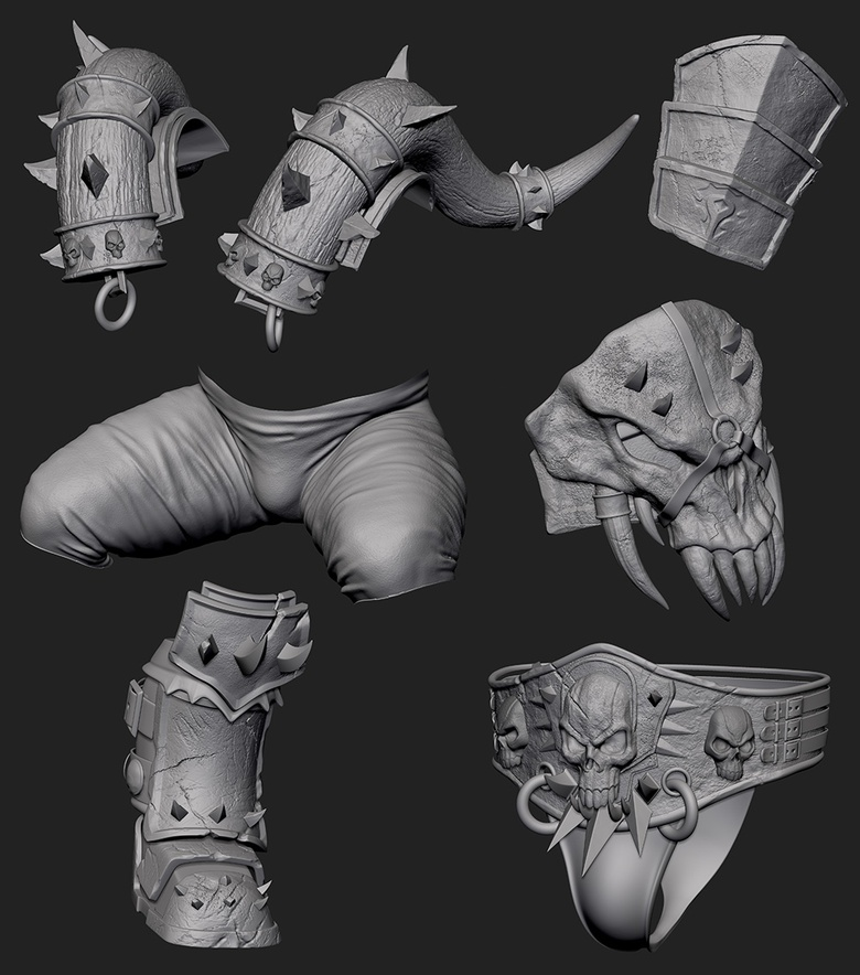 Building up detail on the body, skin and armor