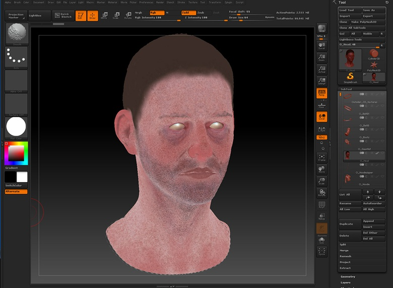 Use color spray and work in passes to bring more detail and life to your character's skin texture