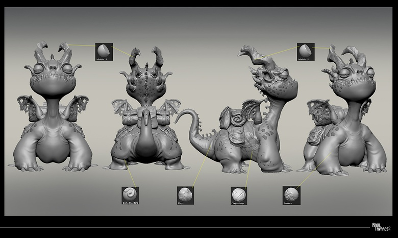 Building and smoothing to create a great layering of flesh and skin on the character