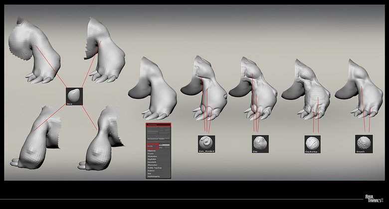 The workflow you see with the arm is my daily workflow and illustrates how I go about doing all the other SubTools