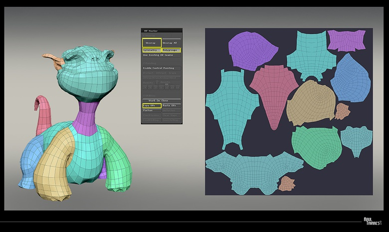 Applying the same method to all the different SubTools ensures perfectly usable UVs
