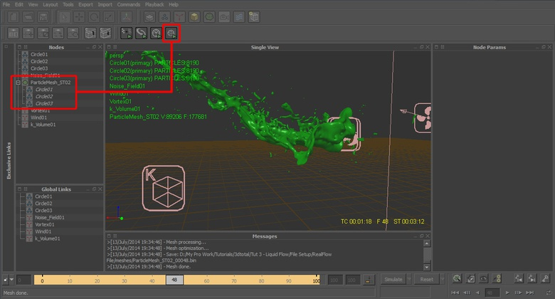 Creating the RealFlow mesh for our particles