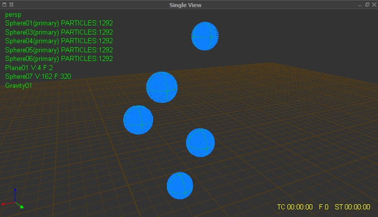 Creating and placing the five sphere emitters in RealFlow