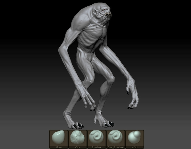 Developing creature anatomy in ZBrush using various brushes