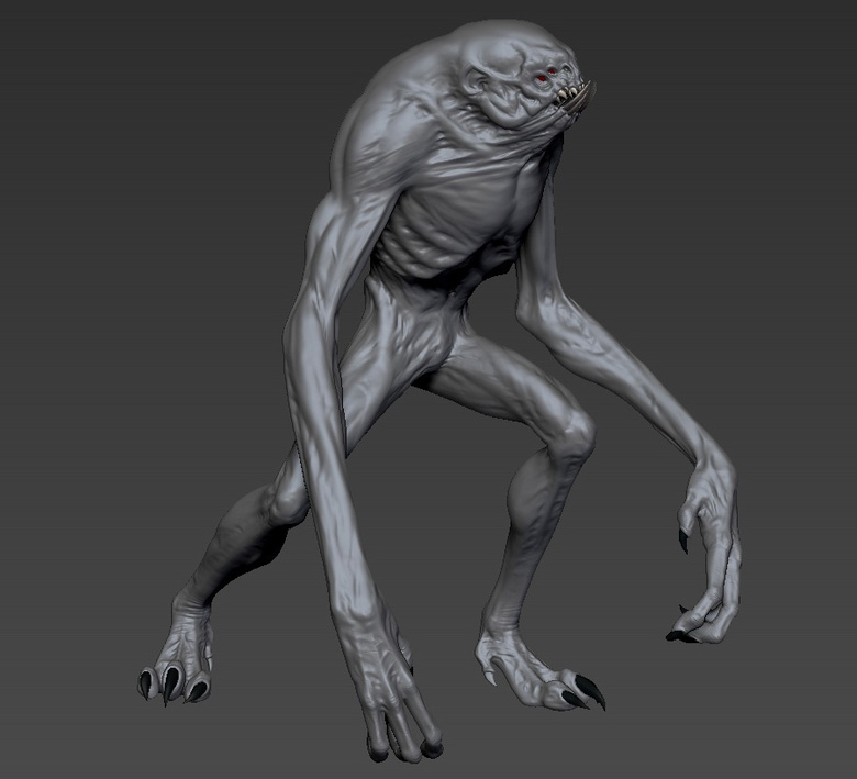 Adding key details to the skin before posing the creature