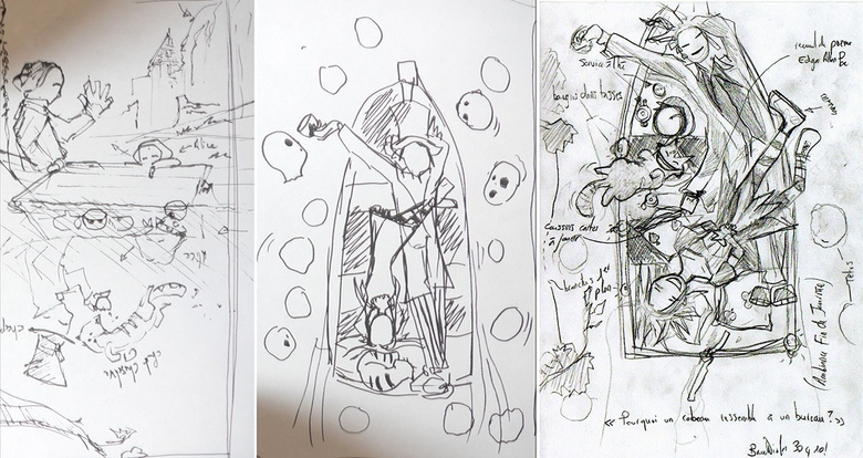 The original sketches of the idea for the scene