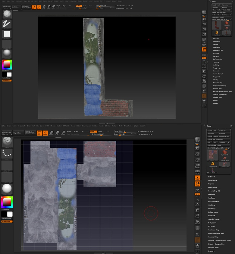 Using ZBrush to create imperfections in the pillar