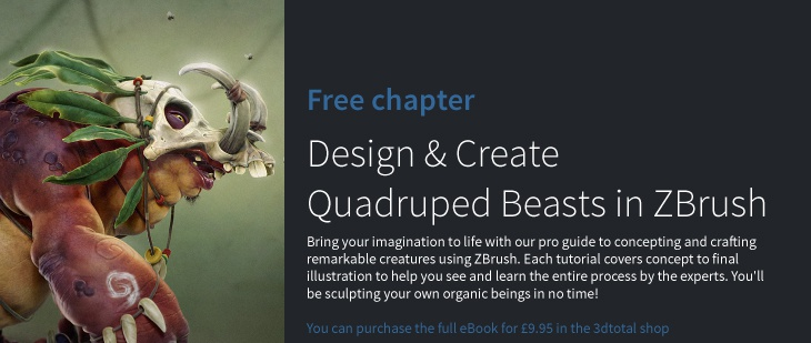 Design and create quadruped beasts in ZBrush · 3dtotal
