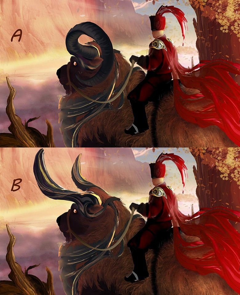 Painting two versions is always helpful to make the right choice