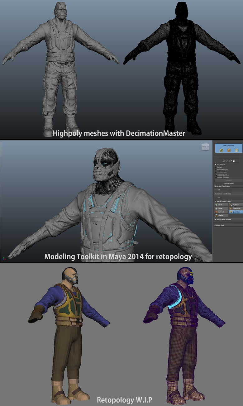 I used the Modeling Toolkit, new in Maya 2014, for re-topology work