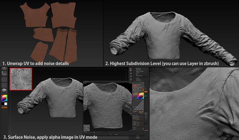 Adding surface noise in ZBrush with an alpha image