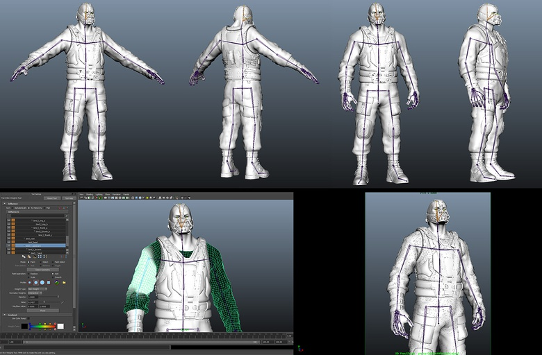 Creating a simple skeleton in Maya to pose the character