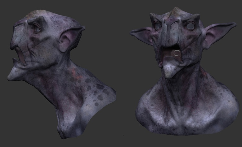 When texturing, Henning started out by blocking out the values first before adding color