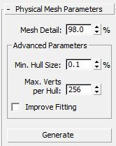 Here we adjust some of the parameters of the physical mesh of the bottle