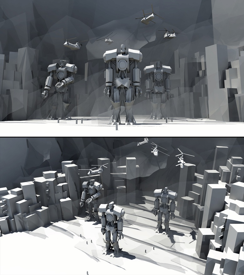 Blocking out some of the initial mech shapes