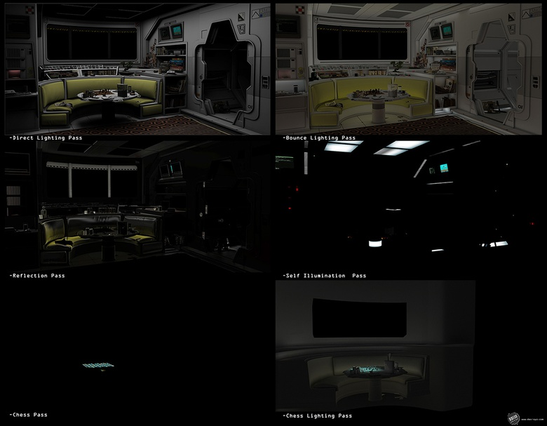 A selection of render passes used for the final composite
