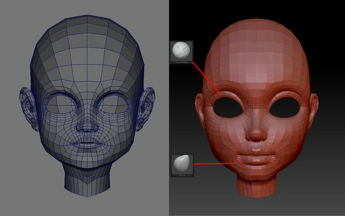 Sculpting the face structure in ZBrush