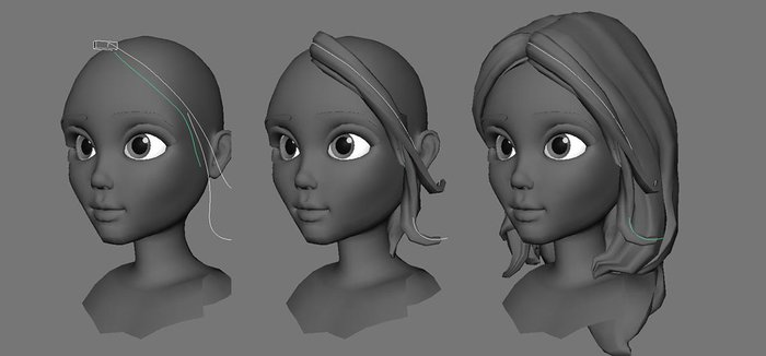 Placing curves and extruding them to create chunks of hair