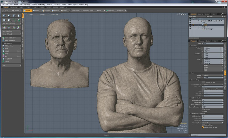 At this stage we're combining the left model (all quads) with the right model (all tris)