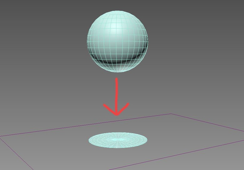 Here we see the ball moving through time and as soon as it hits the deflector surface it deforms and splats. Great fun!