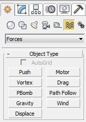 There are a range of forces that you can choose to affect your objects