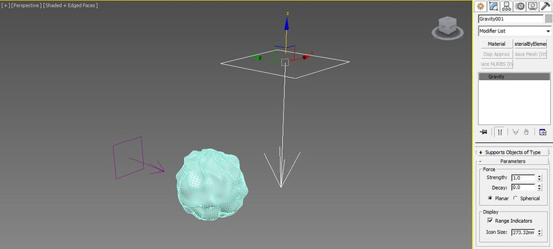 You can apply multiple forces to a Flex modifier. Here we add a gravity force on top of the wind modifier we added earlier