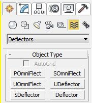 There are plenty of deflector choices to choose from. Use the 3ds Max help section to see the application of each