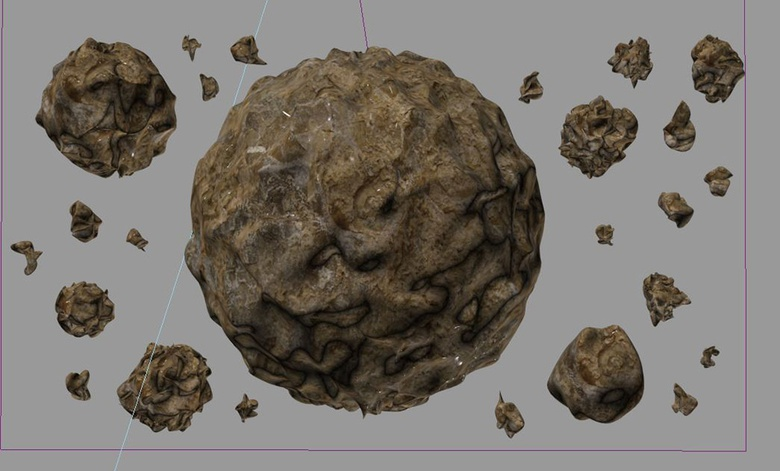 Here we have a load of random rock formations only made possible through the Flex modifier and the wind force