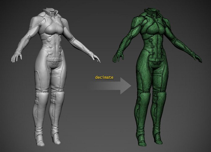 Decimating the mesh to reduce the polycount