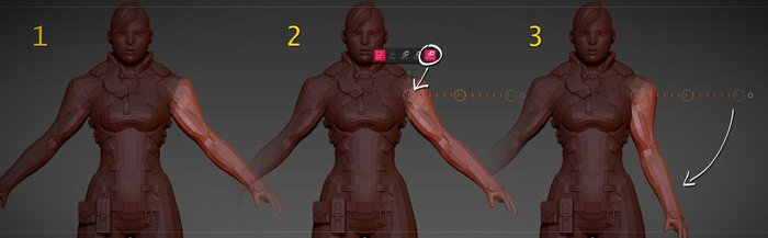 Using the transpose tools to pose the model in ZBrush