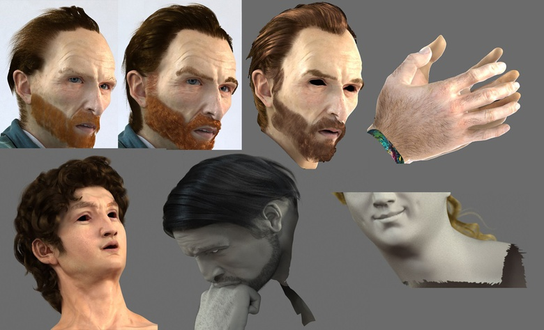 Working on the hairstyles of the characters in the scene
