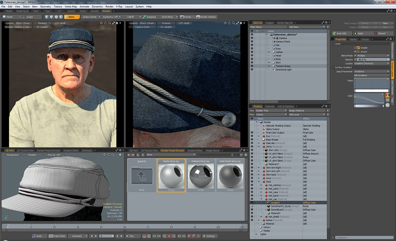 MODO has a great set of material presets