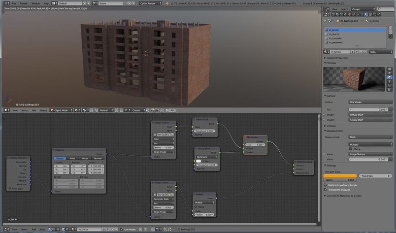 This image shows the brick shader node trees