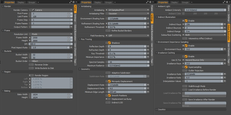 The clear and well-arranged Render Properties in MODO