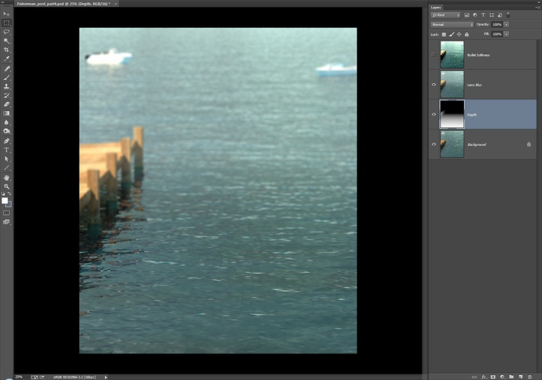 MODO's Depth Output is used in Photoshop's Lens Blur Filter