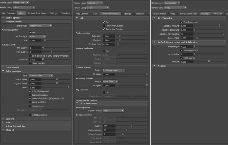 The render settings used in the final scene