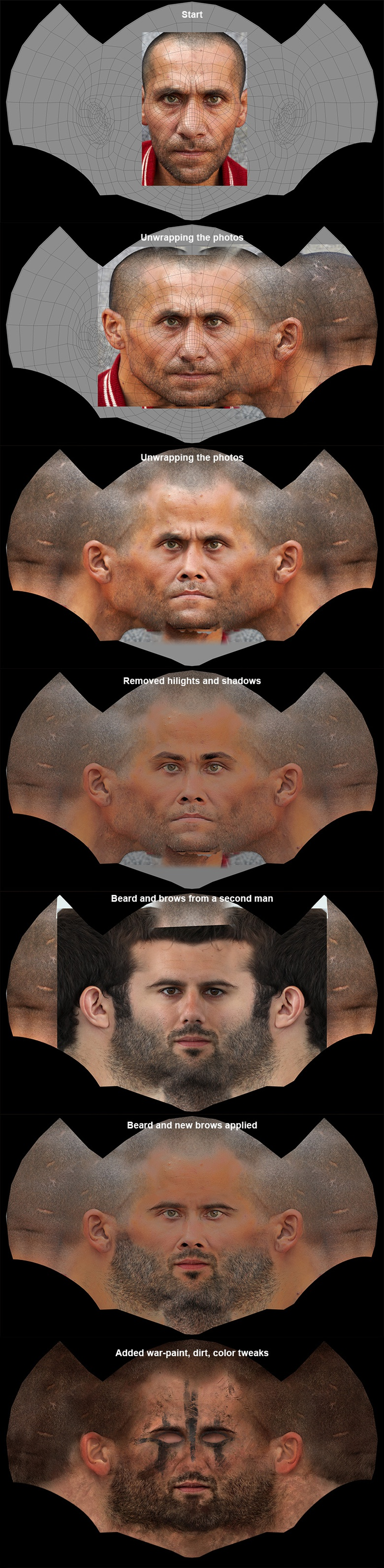 Unwrapping faces in Photoshop, ready to apply to the 3D model