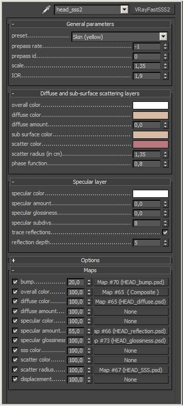 Using VrayFastSSS2 settings for the skin shader