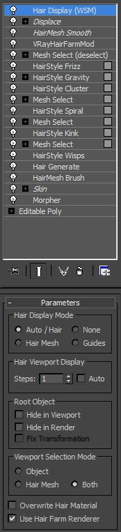 All Hair Farm modifiers used for the hair and beard