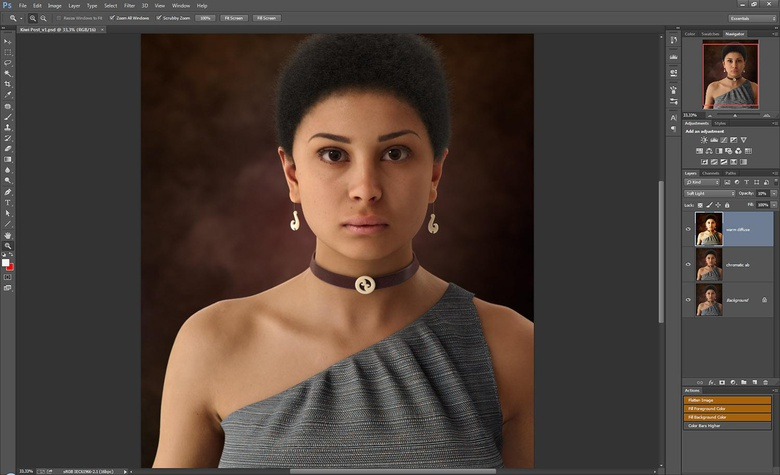 Subtlety is key in post work. A layer opacity of 10% might seem low, but here it does the trick