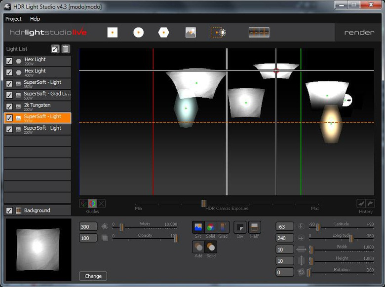 Create or edit HDRI maps in real time for a quick way to edit image-based lighting effects within a MODO scene