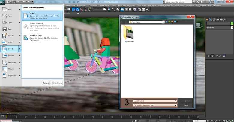 Exporting the scene directly into KeyShot