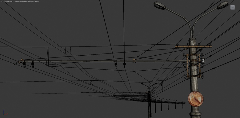 Using splines to create tileable power lines in the scene