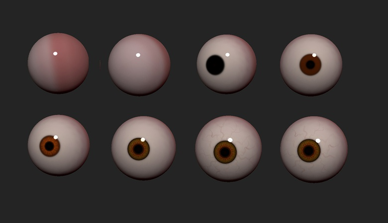 Progress of a ZBrush eye from a Polymesh3D sphere to a colored eyeball, plastic materials and Polypainted texture for the sclera, iris and pupil