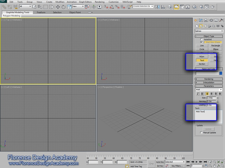 <em>Finding the Splines/Text pathway in 3ds Max</em>