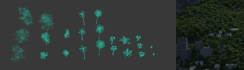 Scattering a range of vegetation models