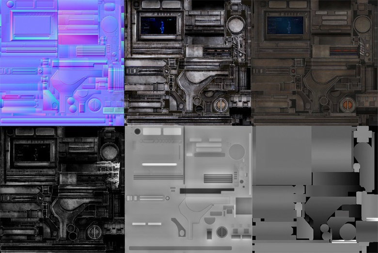 Some of the maps used to texture the scene